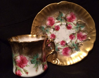 Antique Hammersley Tea Cup and Saucer - Grandmother's Rose with Gilding - Gold - Wedding Table Setting