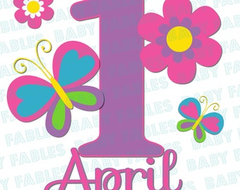 Personalized Birthday Girl Iron on Transfer Flowers & Butterflies 1st Birthday Little Girl Toddler Birthday Girl Heat Transfer 1st Birthday