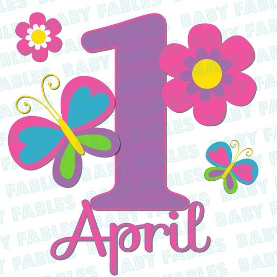Birthday Girl Iron On Transfer Flowers & Butterflies 1st