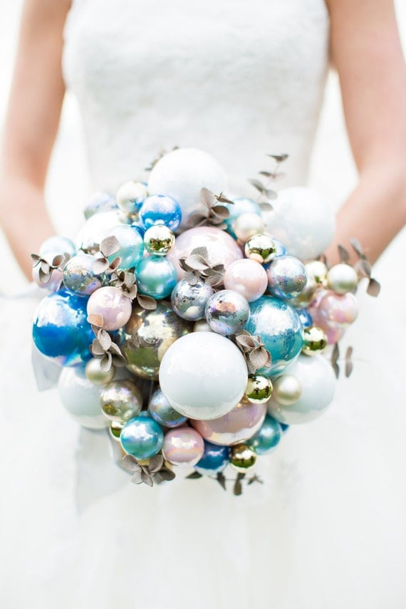 Items similar to CUSTOM CHRISTMAS Bridal Ornament Bouquet ...