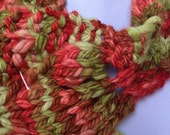 Wool Scarf Chunky Knit Leaf Pattern Red Green Pink