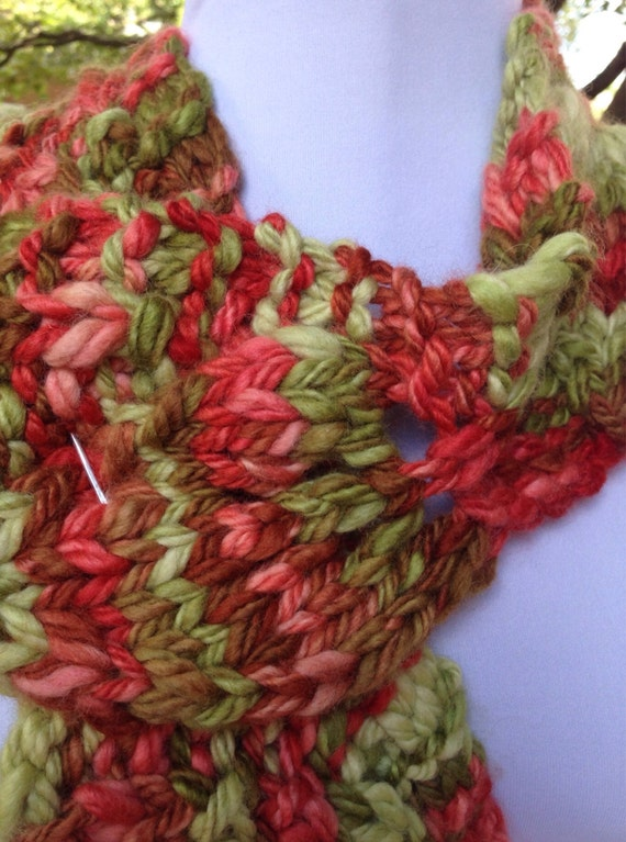 Reversible Leaf Knitting Pattern : Wool Scarf Chunky Knit Leaf Pattern Red Green by ...