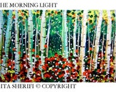 FOREST BIRCHES Wall painting . light green  With colors to match your room decoration.