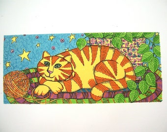 Cat, fine art print found somewhere over the rainbow in KS, cheerful orange yellow purple green blue black vintage handmade wall hanging