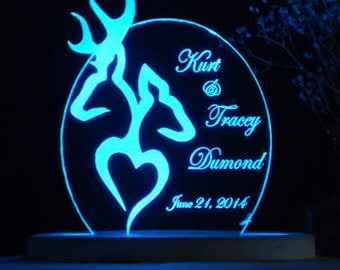 Buck and Doe Love Cake Topper  - Engraved & Personalized - Light Extra