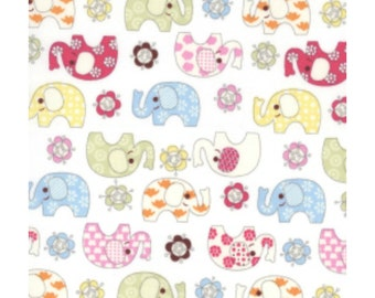Elephants on Ivory 100% cotton Fabric 1m