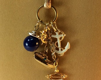 Nautical Necklace, Assemblage,  Sailing, Yacht, Anchor