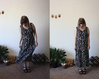 SALE Vintage 90s Black Maxi Beach Dress / M