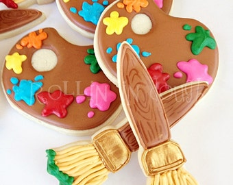 Painting Party Cookies, Paint Party Cookies, Paintbrush Cookies, Paint Palette Cookies - 1 Dozen