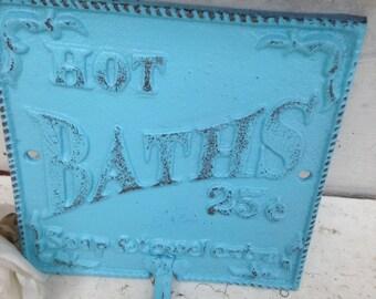 Cast Iron Wall Decor / HOt BATHs Sign / Cast Iron Bath Sign