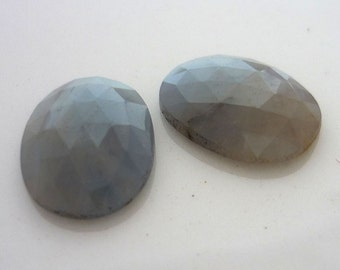 Pretty Grey blue & yellow african sapphire faceted cabochons 12mm x 9mm
