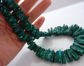 Stunning rough malachite chrysocolla shard beads 11-17mm 1/2 strand