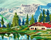 needlepoint tapestry, mountain lanscape, hand embroidered, wall tapestry, see, chalets, french decor