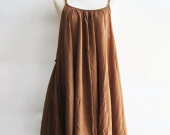 D10, Gold Swan Yellow Brown Cotton Dress