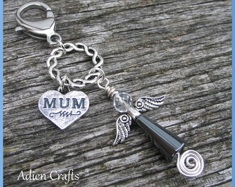 Mum Guardian Angel Purse or Bag Charm, Haematite Gemstone Angel, Mother Christmas Gift