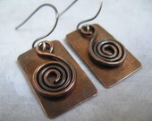 Handmade Copper Earrings Mixed Metal Hammered Jewelry Hammered Copper Gift Under 20