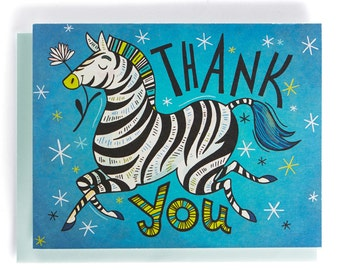Thank You Card: Zebra with a flower, illustrated and hand-lettered in blue, black and green