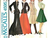 Vintage 1970's McCall's Pattern 4595 Flared Pants, Tango Skirt, Jacket   Size 8