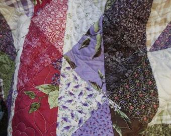 Purple floral lap quilt star quilt