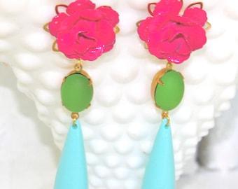 Baby Blue Lime Green Fuchsia Pink Flower Drop Dangle Earrings - Statement Earrings, Wedding, Tropical, bridal, Beach, Bridesmaid