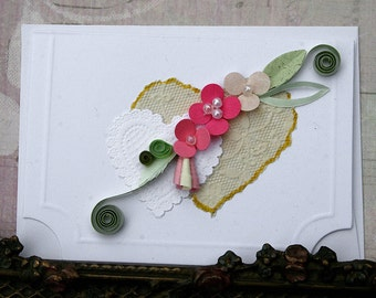 Quilled Valentine Enclosure Card - Hearts Pinks Paper Lace with Faux Pearls