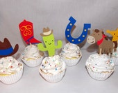 12 Cowboy Cupcake Toppers Up to 4 Sets with Same Shipping Cowboy Birthday Party Decoration Cowboy Baby Shower Wild West Rodeo Boot Horse Hat