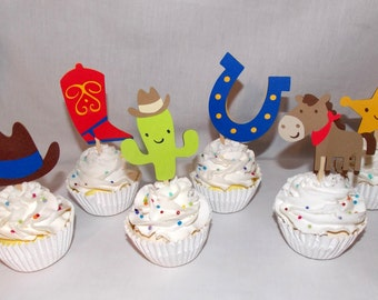 READY TO SHIP  12 Cowboy Cupcake Toppers  Cowboy Birthday Party Decoration Cowboy Baby Shower Wild West Rodeo Boot Horse Hat