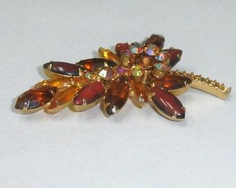 Vintage Goldtone Leaf Pin Brooch w Aurora Borealis, Root Beer and Cirtine Rhinestones