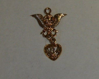 Vintage Gold Plated Sterling 925 Silver Michael Anthony Winged Cherub w Small Heart Dangle Charm or Pendant