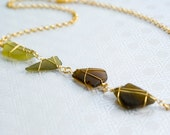 Four Shades of Green Sea Glass Necklace