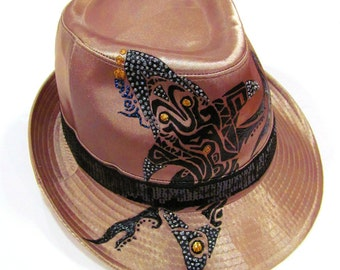 Items similar to One of Kind Fedora Hand Painted Fantasy ...  |Fedora Tattoos