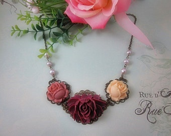Burgundy, Ivory Roses with Lilac freshwater pearls Necklace. Gift for her. Anniversary, Birthday, Maid of Honor, Mother of the Bride.