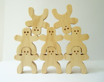 Stacking People Balancing Wood Block Play Set 8 Pieces Hand Cut Scroll Saw