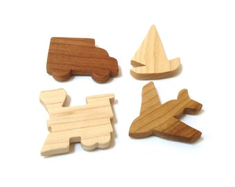 Wooden 4 Piece Transportation Magnet Set  Vehicles Home Decor Wood Cutout Shapes Airplane Sailboat Train Truck