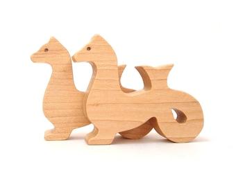 Wood Sea Monster Toys Waldorf  Miniatures Fantasy Sea Serpent Hand Cut Scroll Saw