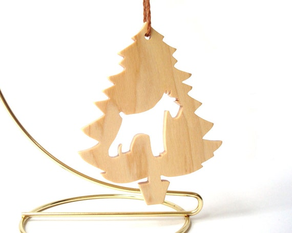 Wood Schnauzer Dog Ornament Christmas Tree Silhouette Wooden Hand Cut Maple Scroll Saw