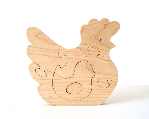 Wood Chicken Puzzle Maple Country Home Decor Farm Animal Puzzle Chick Egg Hand Cut Scroll Saw
