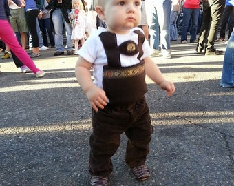 Traditional brown baby lederhosen onesie