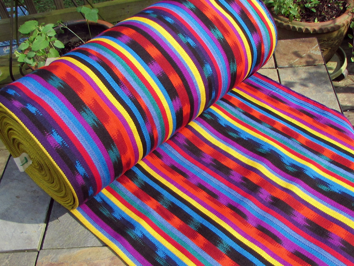 Guatemalan Ikat Fabric In Primary Colors