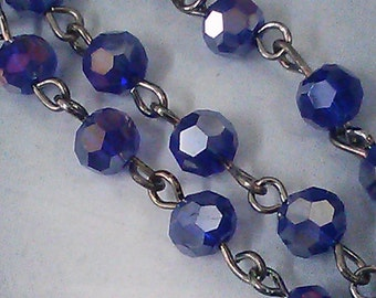 36 Inches Rosary Chain of 6 mm Faceted Round AB  Cobalt  Blue Glass Bead Antique Silver Chain, Gunmetal links