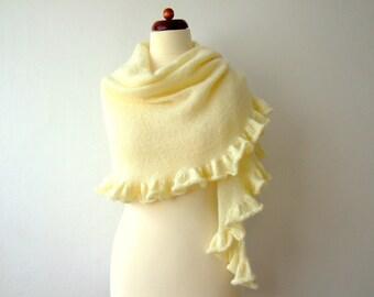 ecru wedding shawl, bridal cover up, shimmering, large, with ruffle