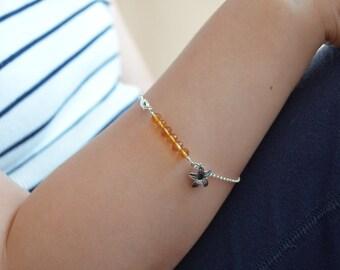 Citrine Bracelet, November Birthstone Jewelry, Genuine Burnt Orange Gemstone, Sterling Silver Jewelry, Tween Girls, Children, Flower