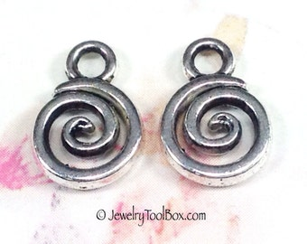 Drops, Spiral Charms, Pewter, Antique Silver Tone, Lead Free, 11x8mm, Lot Size 12 to 50, #1130