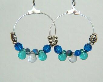 Blue Earrings - Boho Earrings - Blue Bohemian Earrings - Blue Teardrops Earrings - Long Dangle Earrings - Gypsy Earrings - Fall Jewelry