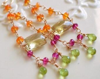 Chandelier Earrings, Bright Gemstone Jewelry, Orange Garnet Pink Tourmaline Lemon Quartz Peridot, Gold Filled, Free Shipping
