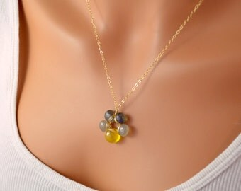 Flower Necklace, Grey and Yellow, AAA Gemstones, Gold Filled Jewelry, Labradorite, Moonstone, Chalcedony, Wire Wrapped, Free Shipping