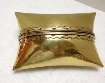 Vintage Shiny Gold Brass Pillow Box Gift Box Ring Box Engagement Ring Box Valentine's Day Gift