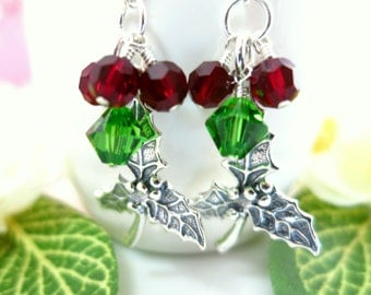 Christmas Sterling Silver Mistle Toe Green and Red Swarovski Crystal Berry Red Earrings - Christmas Mistletoe Sterling Silver Earrings
