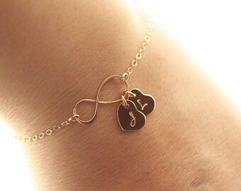 Personalized Infinity Bracelet, Initial Bracelet, Gold Infinity Bracelet, Gold Filled, Bridesmaids Bracelet, Dainty Mother's Bracelet