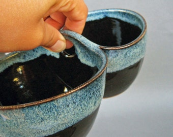 Double Bowl Server in Black and Blue Speckle Twilight Black and Blue Speckle Glaze
